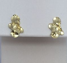 14K YELLOW GOLD DIAMOND CUT NUGGET EARRINGS #Stud