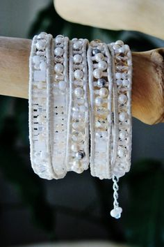 Pearly Leather bracelet with neutral/White Pears, crystals, tilas, Czech & Japanese glass beads