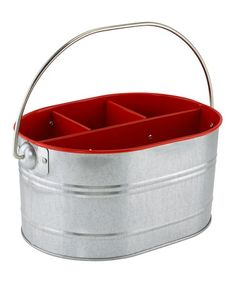 This Red Galvanized Caddy is perfect! #zulilyfinds