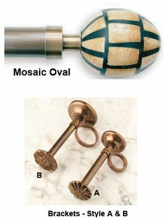 Eaton Antique Bronze 35mm and 50mm Pole Set with Mosaic Oval finials  Ref: 224 Eaton Antique Bronze 35mm and 50mm Pole Set with Mosaic Oval finials  £143.95 (Including VAT at 20%)