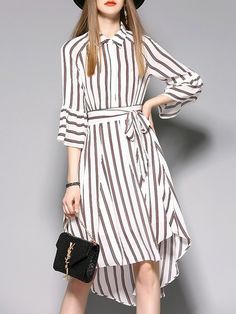 Shop Midi Dresses - Stripes High Low Frill Sleeve Chiffon Girly Midi Dress online. Discover unique designers fashion at StyleWe.com.