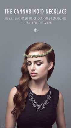 The Cannabinoid Necklace by Aroha Silhouettes - an artistic mash-up of cannabis compounds THC, CBN, CBD, CBC and CBG