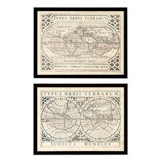 Eichholtz Ec201 Vintage Maps Print Set Of 2 ($345) ❤ liked on Polyvore featuring home, home decor, wall art, vintage home decor, vintage home accessories and vintage wall art