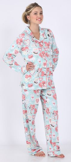 "Munki Munki Women's ""Love Notes"" Cotton Knit Pajama in Blue and Pink $86 - The Pajama Company"