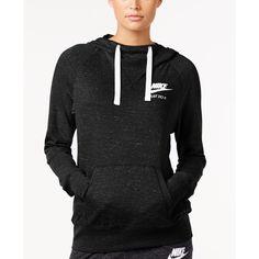 Nike Sportswear Gym Vintage Just Do It Hoodie ($55) ❤ liked on Polyvore featuring tops, hoodies, black, hooded pullover, nike top, nike, vintage hoodies and hooded sweatshirt