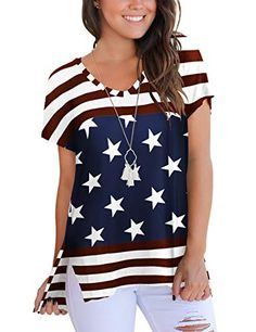 Womens Summer American Flag Printed Mesh Off Shoulder T-Shirts Chiffon 3//4 Sleeves Bell Sleeve July 4th Patriotic Loose Casual Tops Shirt