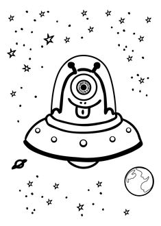 Funny alien in UFO – Coloring page for kids website full of alien/space clipart