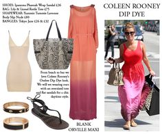 We are stealing Coleen Rooney's style and wearing our dip dye maxi with flats and an oversized tote!