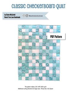 """This is a PDF pattern available for immediate download. This pattern is suitable for a beginner, but basic knowledge of rotary cutting and sewing is required.  This pattern make a 36"""" x 48"""" size baby quilt, but has additional cutting instructions for larger sizes, including throw, twin, full and queen.This pattern utilizes a fast strip sewing method.   The pattern also contains lots of tips for the way I like to make my quilts, including basting and quilting.This p..."""