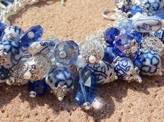 LUSH CHINESE PORCELAIN ooak Blue White Chinese themed Charm Bracelet
