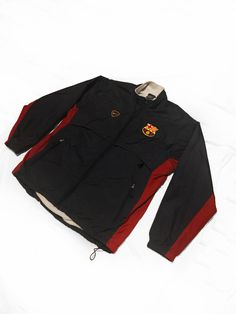 Vintage Nike Fc Barcelona 1999 2000 Soccer Football Zip Up  Fleece Lined Jacket  Windbreaker Size M