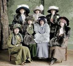 "Washington, D.C., circa 1912. ""Gunston Hall group."" Students at the tony girls' school. Harris & Ewing Collection glass negative. (Colorized) From http://blog.trud.ru/community/1682787/blog/page281.html"