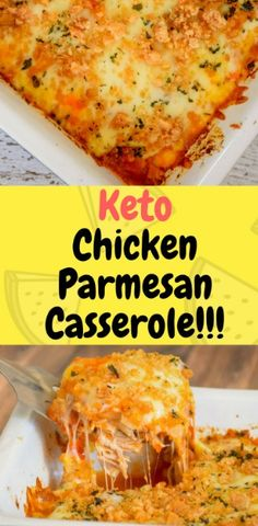 This Keto Chicken Parmesan Casserole is a super easy dinner recipe that's bursting with savory, flavorful, cheesy, tomatoey flavor! Your whole family will love it, and you'll love how simple it is to put together…