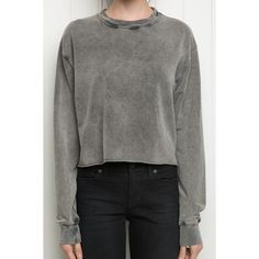 Nancy Sweater (220 DKK) ❤ liked on Polyvore featuring tops, sweaters, crew neck sweaters, grey crewneck sweater, gray pullover sweater, cropped crew neck sweater and crew neck crop top
