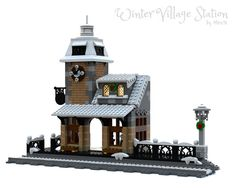 LEGO Winter Village Train Station - building instructions and parts list. Lego Christmas Train, Lego Christmas Village, Lego Winter Village, Lego Village, Outdoor Christmas, Lego Train Station, Lego City Train, Lego Trains, Lego Gingerbread House