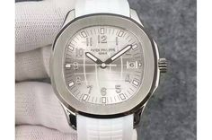 Patek Philippe Aquanaut Jumbo SS White Textured Dial on White Rubber Strap A324