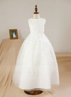 [€ 55.49] Ball Gown Ankle-length Flower Girl Dress - Satin/Tulle Sleeveless Scoop Neck With Beading/Appliques (010094109)