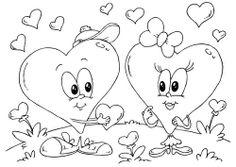 Kleurplaat hartjes Valentijn