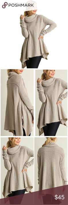 Umgee Oatmeal A-line Cowl Sweater! PRE-ORDER Stunning cotton blend a-line cowl neck sweater! The perfect Fall and Winter piece. Three sizes available! Please allow 1 week for shipping once order closes. Order open for one week. Comment for a tag when available or reserve one now!  • 2 small (4-6) 2 medium (6-8) 2 large (10-12) Umgee Sweaters Cowl & Turtlenecks