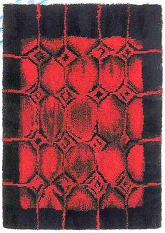 Punaruuni Suunnittelija: Helena Koskivaara Rya Rug, Wool Rug, Textile Design, Textile Art, Textile Texture, Rug Hooking, Floor Rugs, Soft Furnishings, Rugs On Carpet