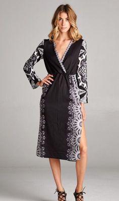 Side Printed V Neck Dress