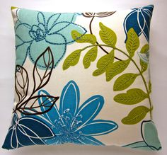 "hand embroidered pillow cover - decorator fabric  - cushion case - 18 X 18"" throw pillow - mod floral in blues, green and brown - home decor. $55.00, via Etsy."