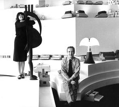 Gae Aulenti and Giorgio Soavi in the Olivetti Showroom. Paris, France 1967.  Photgraph by RM Photography.  (Pipistrello lamp)
