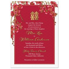 Chinese double happiness red and gold cherry blossom wedding invitation. Chinese Cherry Blossom, Red Cherry Blossom, Cherry Blossom Wedding, Chinese Wedding Invitation Card, Wedding Invitation Envelopes, Cheap Invitations, Invitation Ideas, Chinese Wedding Decor, Or Rouge