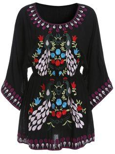 Round Neck Floral Embroidered Shift Black Dress