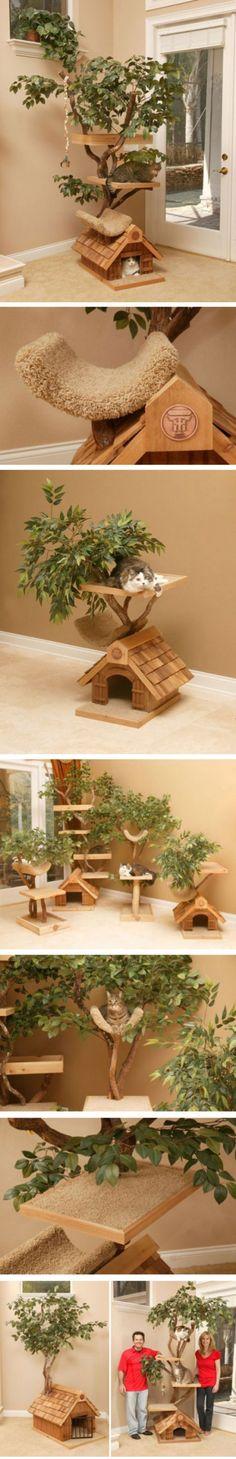 diy一对爱猫成痴的的夫妻Joe 和Shelley 在08 年时为家中的猫咪盖了第一栋宠物树屋(Pet Tree Houses),目的是希望它们能够与「自然」贴近一些。树屋全使用天然木材与原生树皮,再加上猫咪最爱的毯子,完全是宠物的梦幻天堂啊!现在这对夫妻开办了公司,为各地顾客提供定制的宠物树屋。