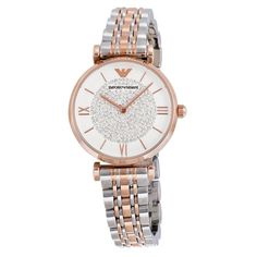 White Crystal Pave Dial Two Tone Stainless Steel Ladies Watch