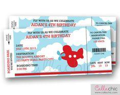 Airplane Boarding Pass Ticket Invitation PRINTABLE - Aeroplane Plane Boy Birthday Party - Blue Red Orange on Etsy, $14.00