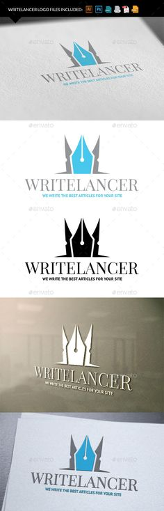 Logo for a freelance writer, blogger or book editor. Fully vectors, this logo can be easily resize and colors can be changed to fi