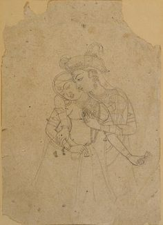 Indian drawing century a Rajasthani court scene, pencil and opaque watercolor on paper, possibly depicting Maharaja Man Singh of Jodhpur and his court in a garden Mughal Paintings, Tanjore Painting, Indian Art Paintings, Vintage Paintings, Shiva Art, Krishna Art, Hindu Art, Outline Drawings, Art Drawings