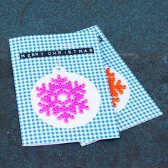Bügelperlen-Schneeflocken-Karte
