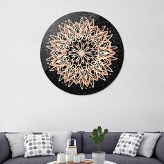 Discover «Metallic Mandala», Exclusive Edition Disk Print by Bee-Bee Deigner - From $84 - Curioos Black Marble Background, Bee Bee, Aluminium Sheet, Welcome Gifts, Framed Art Prints, High Gloss, Decorative Plates, Mandala, Metallic