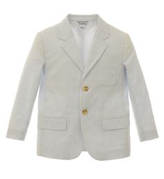 Boys handsome seersucker blazer features functional pockets. Fully lined.-- I can't even express the amount of love I have for this blazer. If we ever had a need for this I would buy it in a heart beat! #MyHartstrings