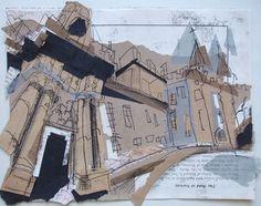 Holyrood Palace Entrance, Edinburgh Collage with Monoprint Lucy Jones, Edinburgh Artist www.lucyjonesart.com