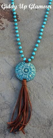 Long Turquoise Necklace with Turquoise and ST Crystal Round Concho and Tassel
