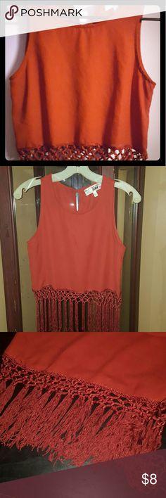 Sleeveles fringe blouse Cute burnt orange fringe top, gently used, Body 100% Polyester, Lace 100% Viscose Derek Heart Tops Blouses