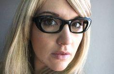 Vintage 50's Atomic Black Cat Eyeglasses Sunglass Frames. $94.00, via Etsy.