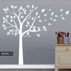 Farbkombination Wandaufkleber Baum Eulen und Vogel Dekoration von WANDTATTOOS auf DaWanda.com                                                                                                                                                                                 Mehr