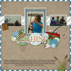 Fixin' to Fish, #fishing, #fish, scrapbook, scrapbook kit, digital scrapbook kit, fishing clip art, outdoors scrapbook kit, word art, patterned papers