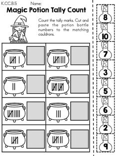 Magic Potion Tally Count >> A Halloween themed no prep activity for children to practice counting using tally marks