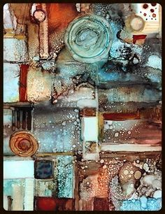 "Abstract Artists International: Abstract Mixed Media Alcohol Ink Abstract Painting ""Soho"" by New Orleans Artist Lou Jordan"
