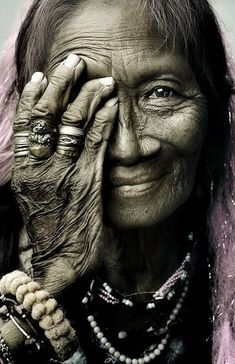 old woman.old hands.