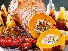 Gefüllter Kürbisbraten mit Maronen-Spinat-Reis-F8668801 Clean Recipes, Snack Recipes, My Favorite Food, Favorite Recipes, Pumpkin Pasta, Healthy Snacks, Healthy Recipes, Holiday Baking, Queso