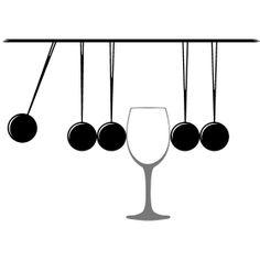 Kugelsto�pendel mit Glas - Ein Retro Kugelsto�pendel mit einen Glas in der mitte.
