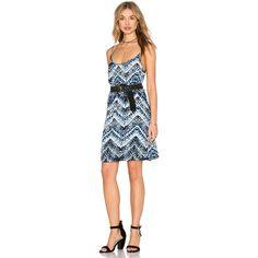 Michael Stars Azure Crepe Print Cami Swing Dress (55 AUD) ❤ liked on Polyvore featuring dresses, trapeze dress, crepe dress, swing dress, print cami and michael stars