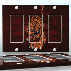 DIY Do It Yourself Home Decor - Easy to apply wall plate wraps | Tiger Attack  Mad tiger on red background  wallplate skin sticker for 3 Gang Decora LightSwitch | On SALE now only $5.95